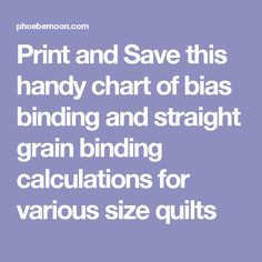 Print and Save this handy chart of bias binding and straight grain binding calculations for various size quilts
