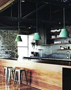 kitchen-eventually: wood island, exposed brick, pendant lights, grey backsplash, grey cabinets, wood open cabinets, stainless steel