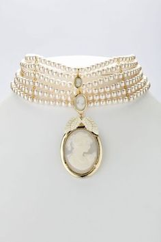 Les Bijoux De Sophie Cameo choker necklace. 6 rows of pearls necklace with Victorian Cameo, angel wings pendant.