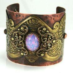 Vintage Bohemian Gypsy Style Cuff with Crown Bezel Set Czech Fire Opal Glass Cabochon on Etsy, $180.00