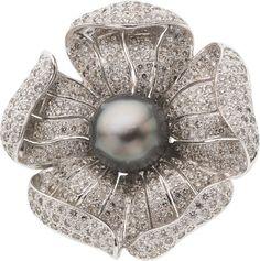 Black South Sea Cultured Pearl, Diamond, and White Gold Pendant-Brooch