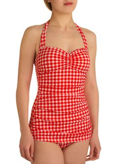 Esther Williams Bathing Beauty One Piece in Cherry Pie | Mod Retro Vintage Bathing Suits | ModCloth.com