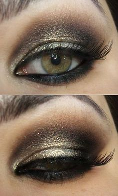 Brown and gold party makeup