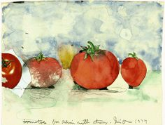 Jim Dine (American, b Tomatoes, watercolor, graphite and collage on paper, 9 by 12 inches (sheet). George Segal, Neo Dada, Art Education Resources, Jim Dine, Fruit Painting, David Hockney, Vanitas, Paintings I Love, American Artists