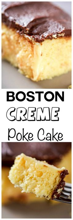 Boston Cream Poke Cake: Super moist cake, topped with a fudgy chocolate…