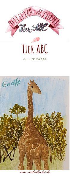 Weiter geht es mit meiner Mitmach-Aktion dem Tier-ABC. Diesmalmitdem Buchstabe -G- Giraffe. Für alle die gerne malen und zeichnen Tier Abc, Giraffe, Movie Posters, Art, Drawing Animals, Letter G, Hands On Activities, Art Background, Felt Giraffe