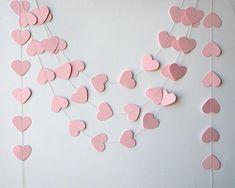 Wedding garland, Wedding decorations, Heart garland, Pink heart garland, Bridal shower decor, Paper garland, Baby shower - Bridal shower