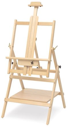 This is a convertible Easel.Simply you can adjust this so it lays flat like a table so you can prepare your board or canvas and then move it up so you can paint! A great dual purpose easel especially if you have a small space! Woodworking Bar Clamps, Woodworking Kit For Kids, Woodworking Table Saw, Used Woodworking Tools, Woodworking Plans, Woodworking Classes, Tv Stand Plans, Art Studio Storage, Art Easel