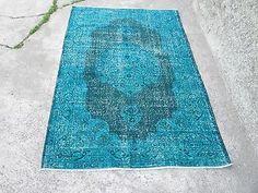 Turquoise Overdyed Rug Vintage Turkish Anatolia Oushak Rug  6.7 x 3.8   feet