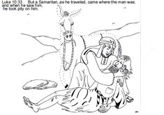 Parable of the good Samaritan ~ Sunday School lesson, craft and coloring pictures.