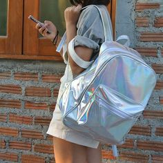 Holographic Backpack Silver Hologram Rucksack by pingypearshop