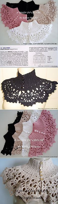 68 trendy ideas for crochet lace dress tejidos Col Crochet, Crochet Lace Collar, Crochet Poncho, Crochet Scarves, Crochet Clothes, Free Crochet, Crochet Collar Pattern, Crochet Cow, Crocheted Lace