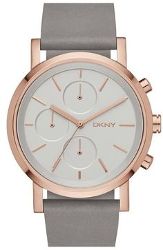 DKNY 'Soho' Chronograph Leather Strap Watch, 38mm