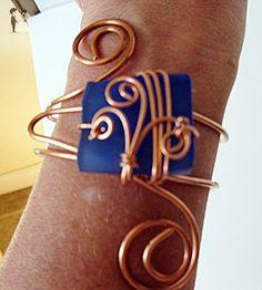 Copper Bracelet Bangle Slip On Wire Wrapped Cobalt Blue Glass Bead - Wedding bracelets (*Amazon Partner-Link)