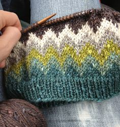 A Lopapeysa-inspired pullover out of Acadia in blue heron, summersweet, kelp, driftwood, egret + moraine.