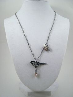 Chickadee Necklace, Shrink Plastic Necklace