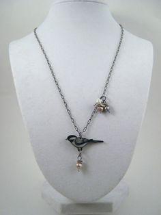 Chickadee Necklace, Shrink Plastic Necklace