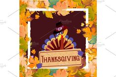 Cartoon thanksgiving turkey character in hat, autumn holiday bird vector illustration happy greeting text on flyer or card on white background with falling leaves framed leaf white square. Flyer