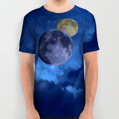 Dark blue sky and moons All Over Print Shirt