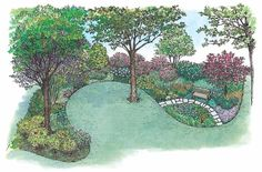 Eplans Landscape Plan - Enliven a Shady Area from Eplans - House Plan Code HWEPL11487