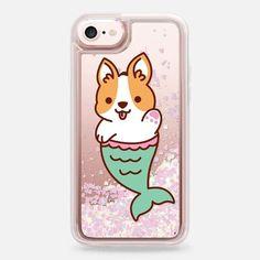 Casetify iPhone 7 Liquid Glitter Case - Mermaid Corgi by Mint Corner