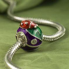 Silver Enamel Purple Bead for European  Bracelet Leaves and a Ladybug | enameljewelry - Jewelry on ArtFire