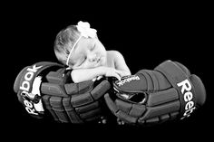10 Things Your Newborn Photographer Wants You To Know. // Newborn pullbacks are my favorite! Newborn in hockey gloves!
