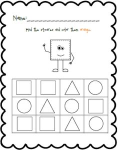 Shape and Color Practice Pre K Worksheets, Shapes Worksheet Kindergarten, Shapes Worksheets, Kindergarten Worksheets, Preschool Activities, Preschool Shapes, Number Activities, Circle Square Triangle, Triangle Worksheet