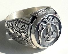 925 STERLING SILVER MEN'S FILIGREE RING WITH UNIQUE HANDMADE DOUBLE HEADED EAGLE #Handmade