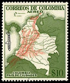 10p Map of Colombia single. 1954