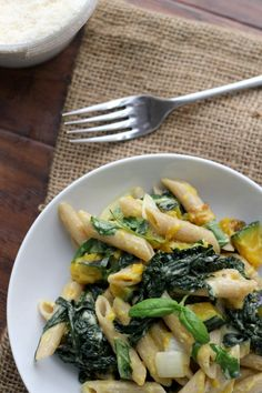 Penne with Butternut Squash, Kale + Goat Cheese
