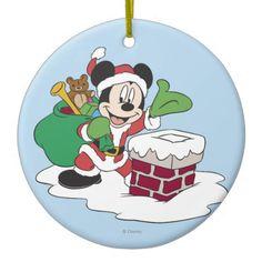 Santa Mickey Going Down Chimney Christmas Tree Ornament