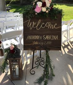 Welcome signage with gold lettering. Looks so rich! One of my favorite things to do for my couples. custom signage they can keep… Rose Wedding, Wedding Day, Cabbage Roses, Welcome, Signage, Things To Do, Lettering, Canning, Weddings