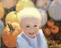 """Peyton in the Pumpkin Patch"" by Beth Marchant Oil Pumpkin, Paintings, Oil, How To Paint, Pumpkins, Paint, Painting Art, Painting, Squash"
