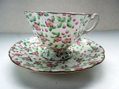 Vintage Tea Cup Saucer Footed Hammersley Floral Chintz Flowers Pink Green Birthday Wedding Anniversary Collector Christmas Gift by Passion4Europe on Etsy