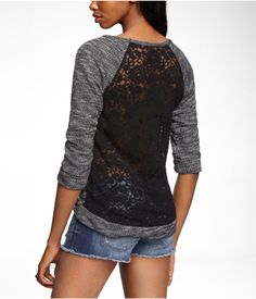 LACE BACK SWEATSHIRT | Express