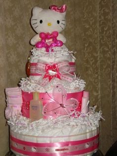 Good Hello Kitty Baby Shower | Hello Kitty Three Tier Diaper Cake