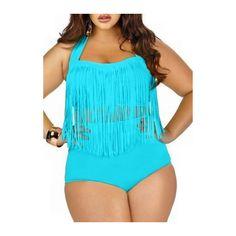 Rotita Sky Blue Fringe Decorated Halter Two Piece Swimwear (£14) via Polyvore featuring swimwear, bikinis, blue, blue sky swimwear, fringe halter bikini, 2 piece bikini, halter bikini and blue halter top