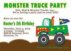 Deb's Party Designs - Monster Truck Birthday Invitation, $1.00 (http://www.debspartydesigns.com/monster-truck-birthday-invitation/)
