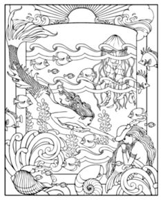 Mythical Mermaids Coloring Book dover | Patterns and Motifs 1 ...