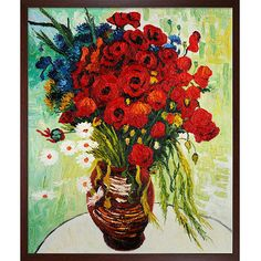 Artist: Vincent Van Gogh Title: Vase with Daisies and Poppies Product type: Framed hand-painted canvas art