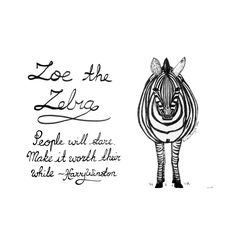 Sketch of the day no 784 in my monologue art journal: Zoe the Zebra.