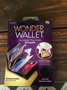 Wonder Wallet Black Leather Credit Card Holder Insert Card Sleeves #CardHolder