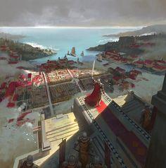 King Darrius' Address to Realms Dark Fantasy, Fantasy City, Fantasy Castle, Fantasy Places, Fantasy Kunst, Medieval Fantasy, Fantasy World, Fantasy Warrior, Fantasy Art Landscapes