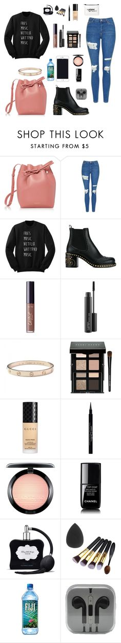 """""""#113"""" by haileywilson1113 ❤ liked on Polyvore featuring Mansur Gavriel, Topshop, Miu Miu, tarte, MAC Cosmetics, Cartier, Bobbi Brown Cosmetics, Gucci, Givenchy and Chanel"""