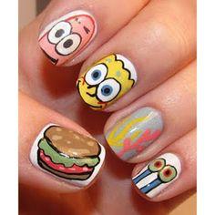 Maquillaje DIY de uñas Bob Esponja.