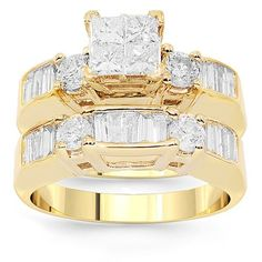 Purchase this set with confidence. The bands are handcrafted in 14K yellow gold and weigh 10.9 grams. The engagement ring is detailed with invisibly set four princess cut diamonds and baguette and round cut side stones. The engagement ring measures to 1/4 inches in width and comes with a matching diamond wedding band which measures to 3/16 inches in width. When worn together, the set measures to 3/8 inches in width.$4,093.00