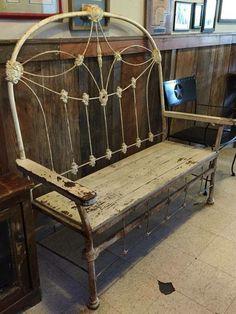 Iron headboard bench