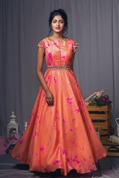 Orange and pink tie dye fringes dress with waist belt!Thye can customize the dress as per your requirement.For more detail 04 April 2018 Frock Design, Indian Designer Outfits, Designer Dresses, Anarkali Dress, Lehenga, Mode Bollywood, Long Gown Dress, Frock Dress, Frock For Women