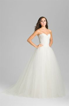 Theia Strapless Lace & Tulle Ballgown available at #Nordstromweddings